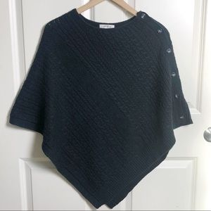 Orvis Cotton Blend Cable Knit Poncho Sweater